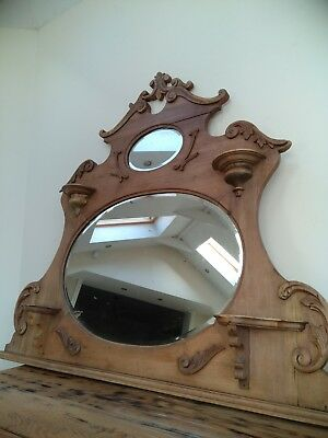 Beautiful Ornate Antique pale oak Mirror, victorian home, vintage overmantle.