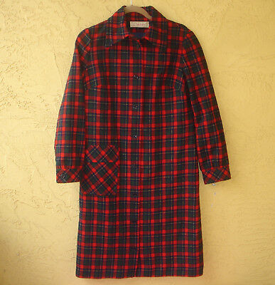 Young Pendleton Vtg 70's Red Plaid Wool Shirtdress Button Front Dress size 13 14