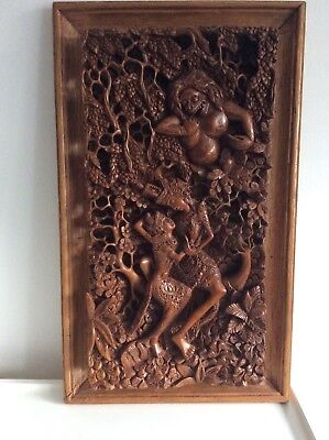 Large vintage Bali wooden carving with scenes of the Ramayana
