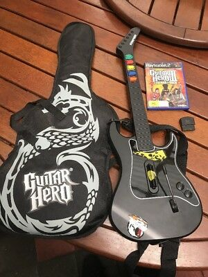 Ps2 Playstation Guitar Hero Wireless Guitar With Dongle And Carry Case With Game