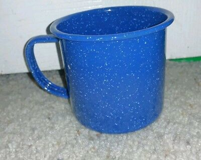 Blue White Spatter Enameled Tin Cup