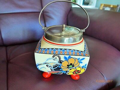 English Newport Pottery - Burslem -  Biscuit Barrel With Lid & Handle - 1930's