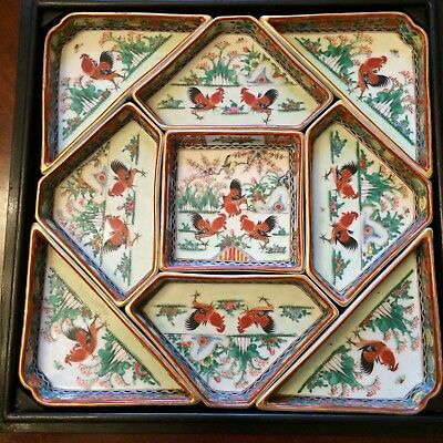 Chinese Porcelain Dishes With Original Carved Box