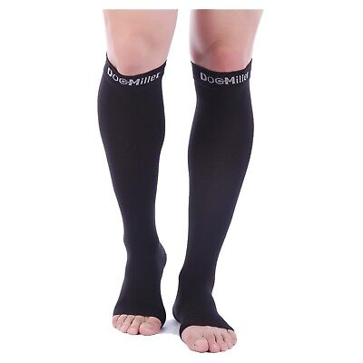 Doc Miller Open Toe Compression Sleeve 30-40 mmHg Varicose Veins BLACK