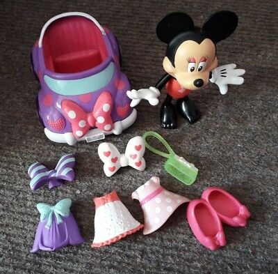 minnie mouse bowtique snap and style dress up playset with car