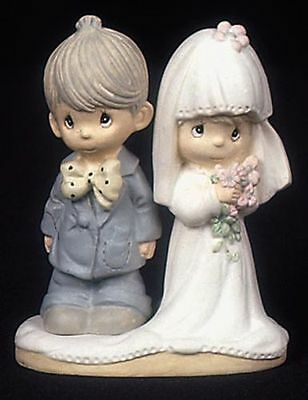 "Enesco Precious Moments Resin Wedding Couple 2 3/4"" Tall Retired 434418/S NEW"