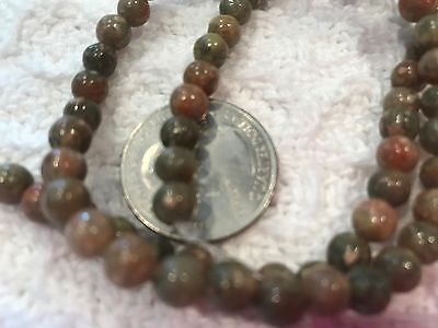 Autumn Jasper Gemstone Beads-Round 6mm-Natural Earthy Coral Green & Brown Hues