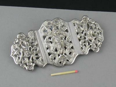 Antique Anglo Indian Reticulated Silver Metal Hinged Nurses Type Buckle Deities
