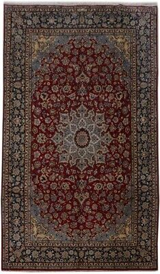 Odd Size 10x16 Persian Isfahan Signed Rug Discounted Handmade Red Rug