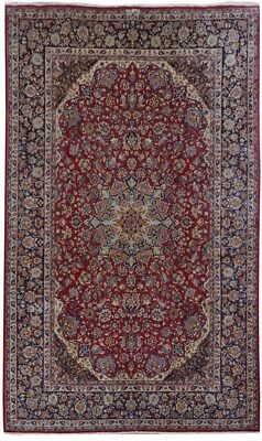 Isfahan Signed Rug Living Room Hand-Knotted Red 10x16 Persian Rug