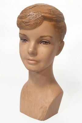Vtg 1930's Art Deco Boy/Youth Mannequin Head Hand Painted Eyes Hard Rubber
