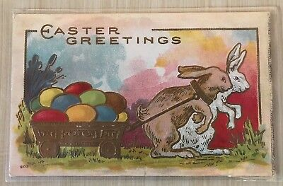 Vintage Embossed Easter Postcard ~Bunny Rabbits with Cart & Colored Eggs-p431