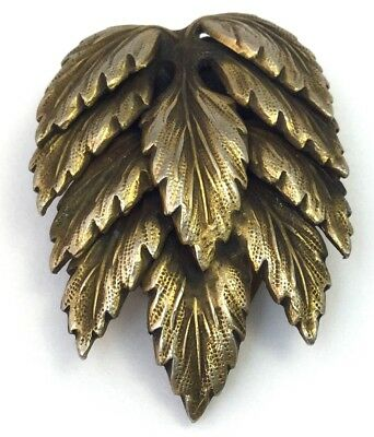 Vintage Art Deco Dress Clip Ornate Layered Metal Leaf Design Costume Jewelry