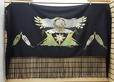Hand Crafted Eagle/tipi Design Native American Indian Dance Shawl By Gus Black!