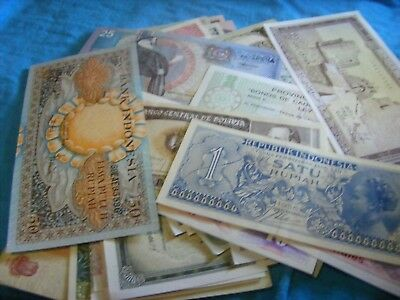Lot of  65  different Uncirculated World Banknotes,some 1960-recent,.BETTER LOT.