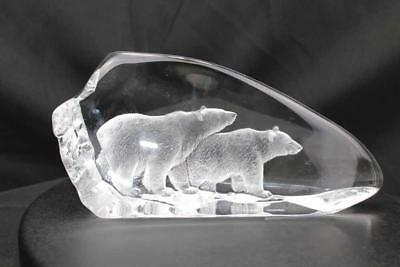 Hand Etched Crystal Polar Bears - Mats Jonasson - New From Gallery - (18470)