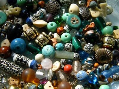 Mixed Lot of Assorted Vintage Beads for Earrings Glass Ceramic Metal & Wood