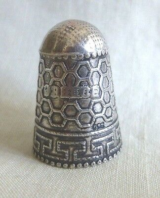 Lovely Decorated 925 Sterling Silver Thimble Greece Greek Key Honeycomb