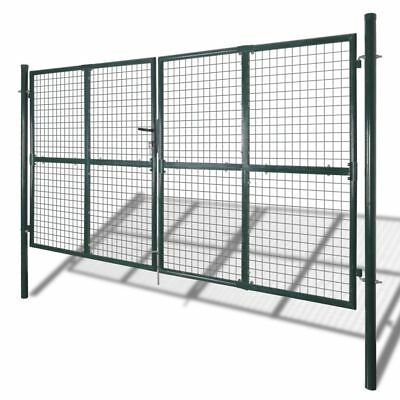 vidaXL Garden Gate Fence Door Mesh Security Fencing Galvanised Steel 306x250cm