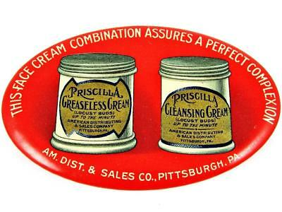 Antique Priscilla Greaseless Cleansing Cream Advertising Celluloid Pocket Mirror