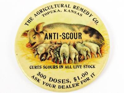 Antique Agricultural Remedy Co. Anti-Scour Advertising Celluloid Pocket Mirror