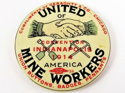 Antique 1914 United Mine Workers Of America Advertising Celluloid Pocket Mirror