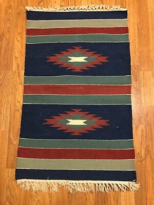"Hand Loomed, 100% Wool Zapotec Rug, 24"" x 39"", Blue, Green, Burgundy and Natural"