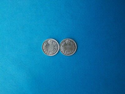 Canada Coins 1919-1920 Years Nice Set Of Two 5 Cents Silver Coins. Circulated