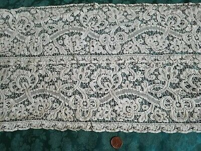 11 Yds Antique Woven Alencon lace bed skirt quilt HUGE LOT on muslin early 1900s