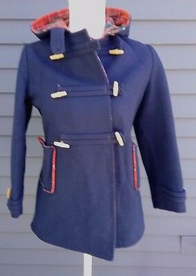 Vtg child's hooded toggle coat heavy wool wood buttons navy w/ plaid lining sz 9