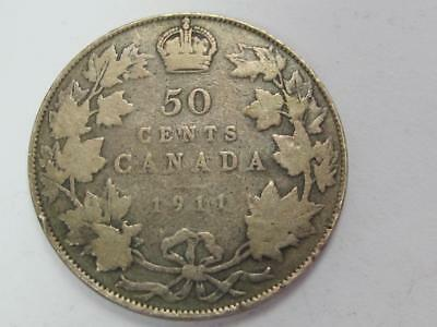 1911 Silver 50 Cents Canada Circulated  Great For Book