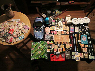 Junk Drawer Lot estate sale old coins jewelry stamps old reel DYMO Swizzle Stick