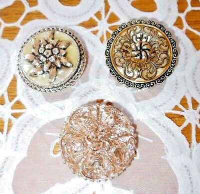Vintage Lot of 3 Gold Tone Scarf / Dress Clips Filigree W. GERMANY - Very Nice
