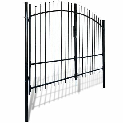 vidaXL 300x248cm Double Door Fence Gate Garden Security Fencing Spear Top Steel#