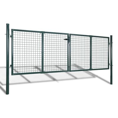 vidaXL Garden Gate Fence Door Mesh Security Fencing Galvanised Steel 306x125cm