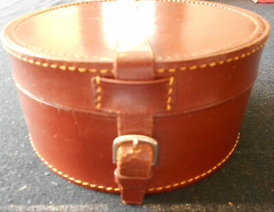 Gorgeous Vintage Brown Leather Round Lined Shirt Collar Box