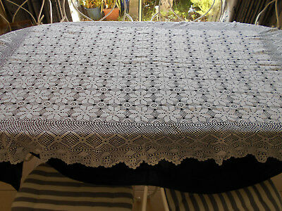 Stunning White Vintage Rectangle Crochet Lace Tablecloth