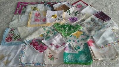 27 vintage hankie handkerchief lot floral lace embroidery scallop cutter flower