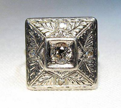 Estate VIntage Art Deco Square 14K Yellow & White Gold Euro Diamond Ring C865