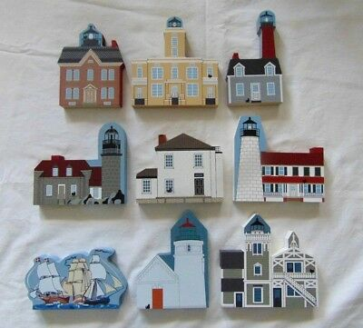 Lot 9 Cat's Meow Light House Lighthouses Painted Wood Plaques Cape Cod New Port