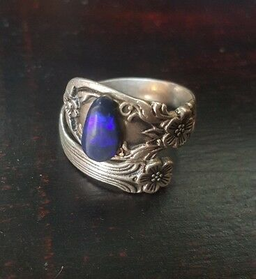 Sterling Silver Ring with Solid Lightning Ridge Opal
