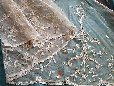 TULLE NET lace antique Alencon Embroidered curtain panel Princess lace