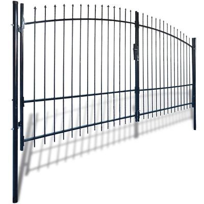 Double Door Fence Gate with Spear Top 400x225cm Garden Backyard Black Steel