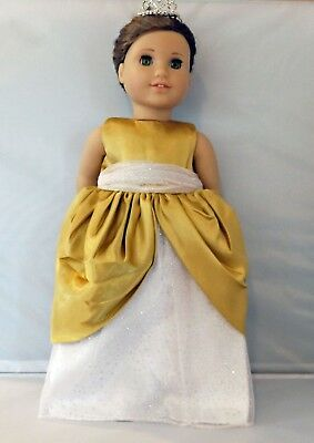 "Gold and White Princess Gown  Fits 18"" American Girl  Dolls"