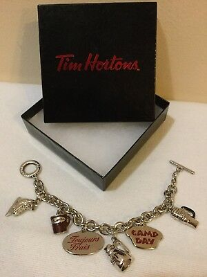 "Tim Horton's 7"" Charm Bracelet Stainless Steel Coffee Mug Camp Day Always Fresh"