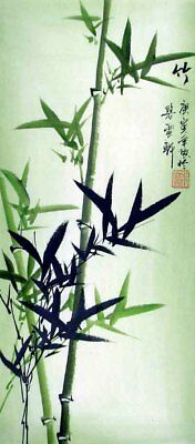 """Oriental Chinese Brush Painting Fengshui Ink Art-Green Bamboo in the Wind 20x9"""""""