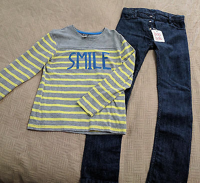 Bnwt Size 8 Unisex Baobab Skinny Jeans & French Design Grey & Yellow Smile Top