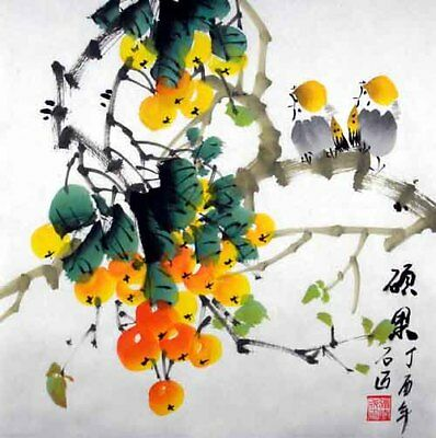 """Oriental Chinese Brush Painting Ink Art-Two Birds Lover Yellow Fruits 13x13"""""""