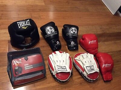 Boxing Gloves, Helmet, Punching Mitts And Duffle Bag Combo, MMA
