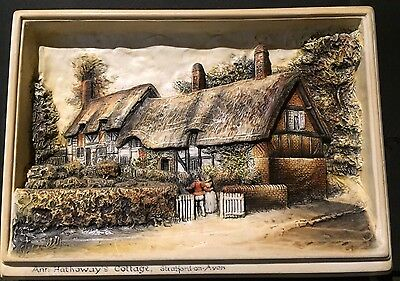Decorative 3D Wall Plaque of Anne Hathaway's Cottage- Osborne Ivorex  Relief
